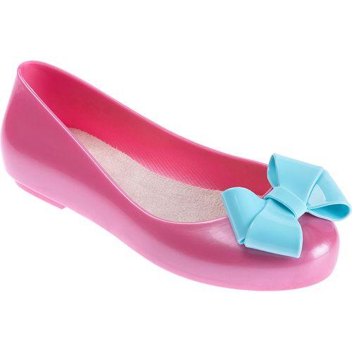 Sapatilha para Bebês - Feminina - Colore - Rosa com Laço Azul - Pimpolho