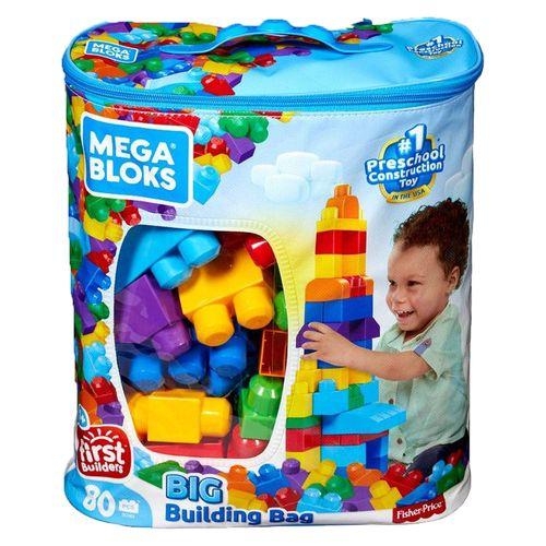 Blocos de Montar - Mega Bloks - Sacola com 80 Peças - Fisher-Price