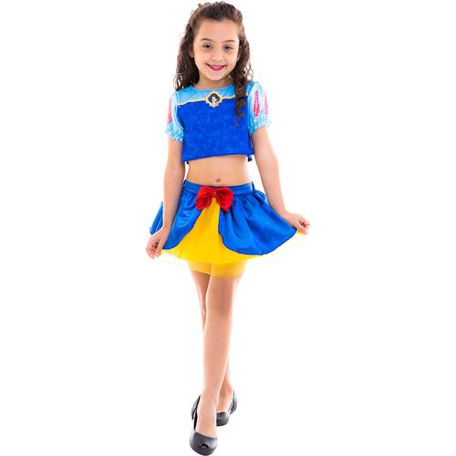 Fantasia Infantil - Cropped - Disney - Princesas - Branca de Neve - Regina Festas