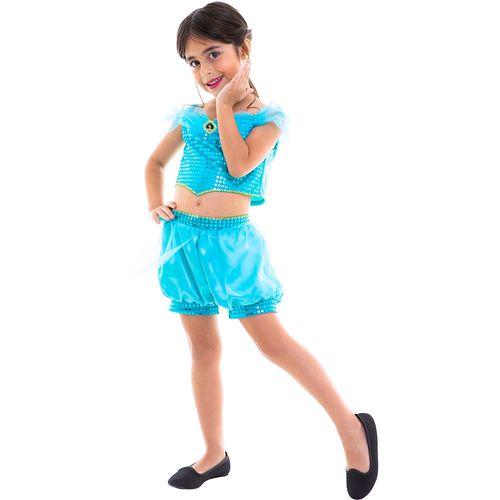 Fantasia Infantil - Cropped - Disney - Princesas - Jasmine - Regina Festas
