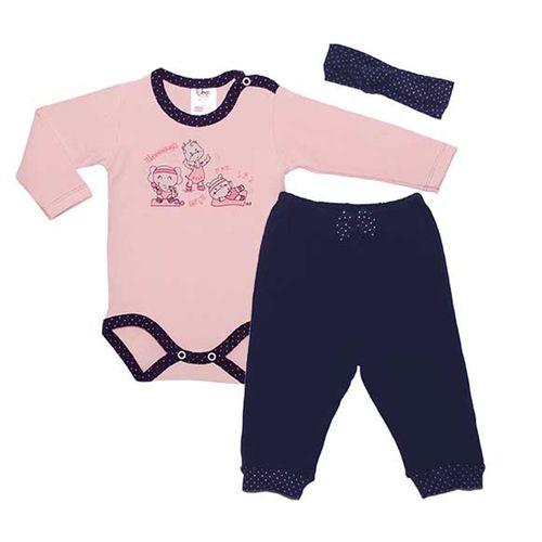 Conjunto Body Longo Bailarina e Calça - Algodão - Rosa e Azul Marinho - BB2 - GG