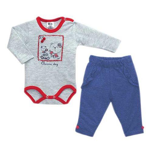 Conjunto Body Longo Cherry Pom Pom e Calça Jeans - Algodão e Poliéster - Cinza e Azul - BB2