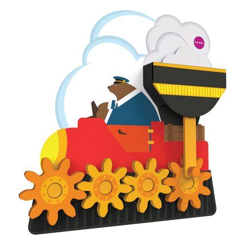 Brinquedo de Parede Autoadesivo - Trenzinho de Madeira - Sr Urso - Oribel