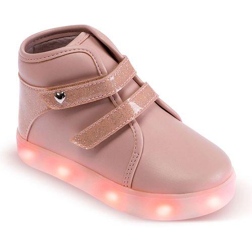 Tênis Para Bebês - Cano Alto Gliter e Solado LED - Nude - Pimpolho