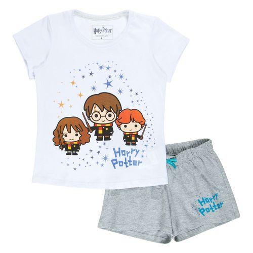 Pijama Manga Curta - Algodão - Harry, Rony e Hermione - Branco e Cinza - Harry Potter - Warner