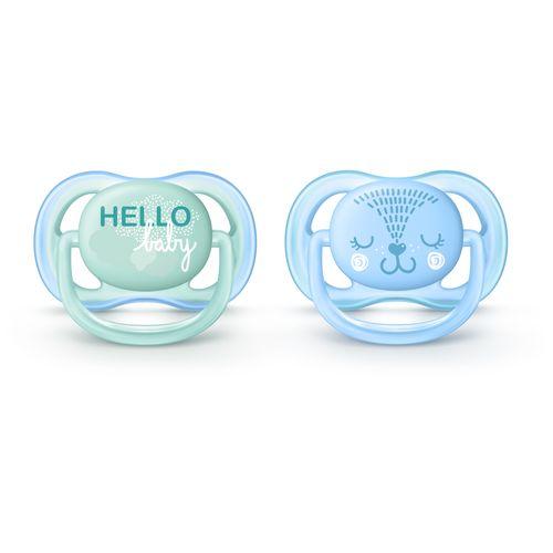 Conjunto com 2 Chupetas Ultra Air - Decorada Azul e Verde - 0 a 6 Meses - Philips Avent