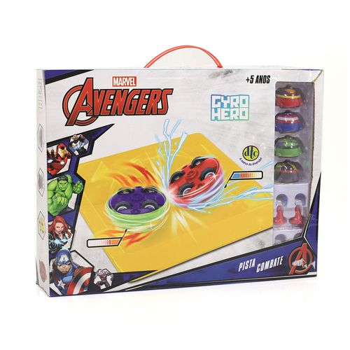 Pista e Piões de Batalha - Giro Hero - Disney - Marvel - Avengers - 4 Personagens - DTC