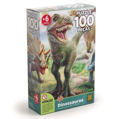 Quebra-Cabeça - Dinossauros - 100 Peças - Grow