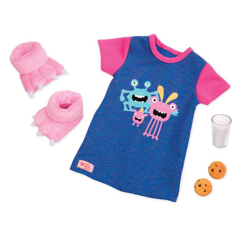 Acessorios-Para-Bonecas---Our-Generation---Conjunto-Camisao-de-Pijama-e-Pantufas