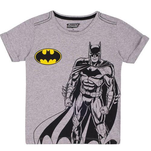 Camiseta Manga Curta - Meia Malha - Estampada - DC Comics - Batman - Algodão e Poliéster - Mescla - Trenzinho