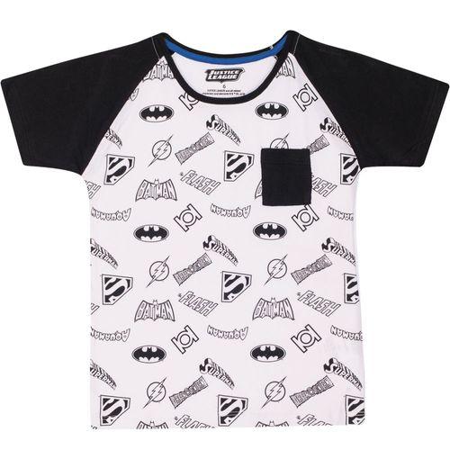 Camiseta Manga Curta - Meia Malha - Ícones - DC Comics - Liga da Justiça - 100% Algodão - Branco - Trenzinho