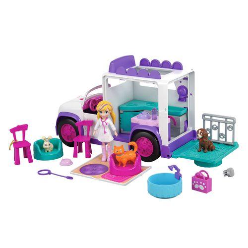 Veículo e Boneca - Polly Pocket - Hospital Móvel dos Bichinhos - Mattel
