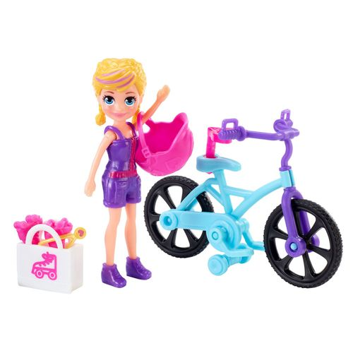 Mini Boneca e Veículo - Polly Pocket - Aventura Sobre Rodas - Bicicleta - Mattel
