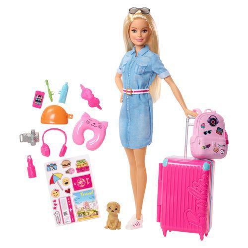 Boneca Barbie - Barbie Viajante com Pet e Adesivos - Mattel