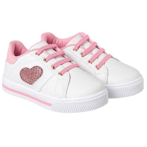 Tênis para Bebês - Mini Blog - Branco e Rosa Chiclete - Pampili