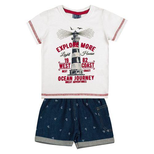 Conjunto Infantil - Camisa Manga Curta Farol e Bermuda - Algodão e Elastano - Branco - Duduka
