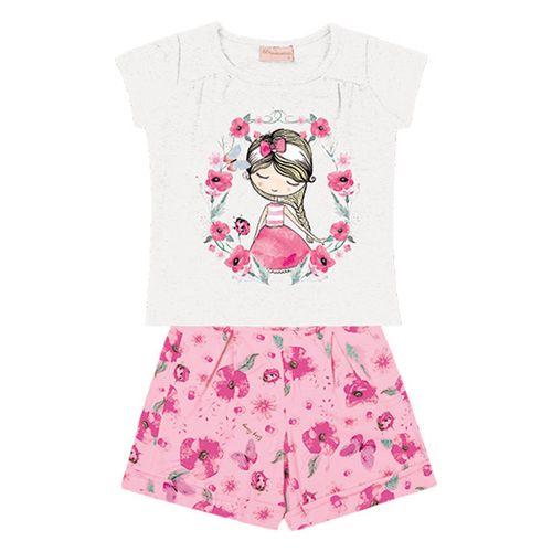 Conjunto Infantil - Camisa Manga Curta Menina e Bermuda - Algodão e Elastano - Branco - Duduka