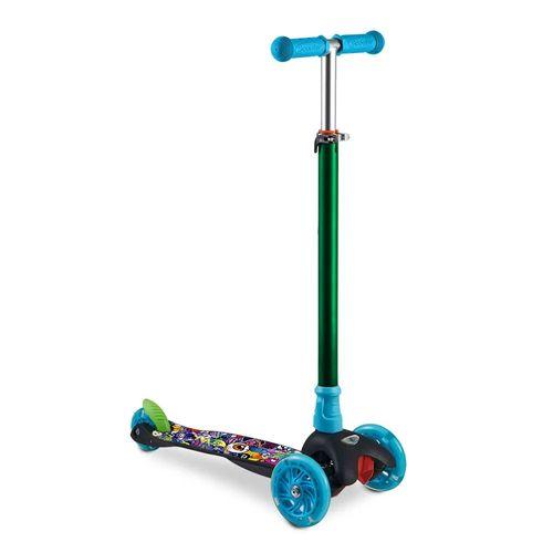 Patinete 3 Rodas - Monster Azul e Verde - LED e Guidão Ajustável - Multikids