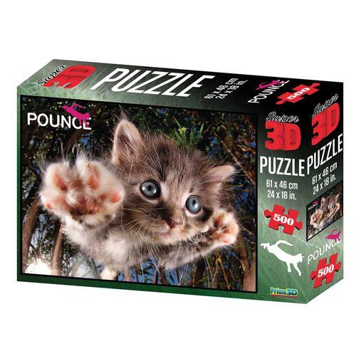 Quebra-Cabeça 3D - 500 Peças - Gato - Multikids