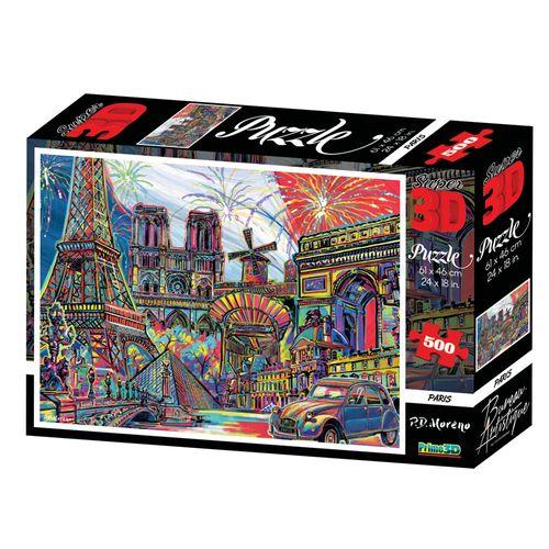 Quebra-Cabeça 3D - 500 Peças - Paris - Multikids