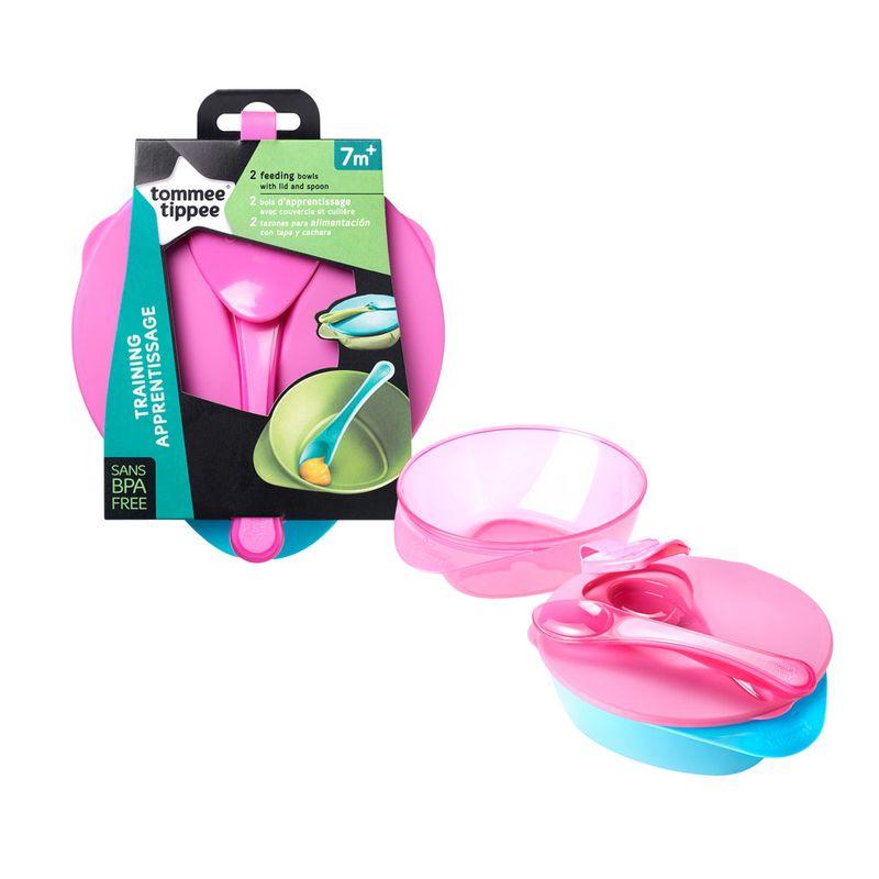conjunto-de-bowls-com-tampa-e-colher-easy-scoop-tommee-tippee-4-pecas-rosa-multikids-530219_Frente