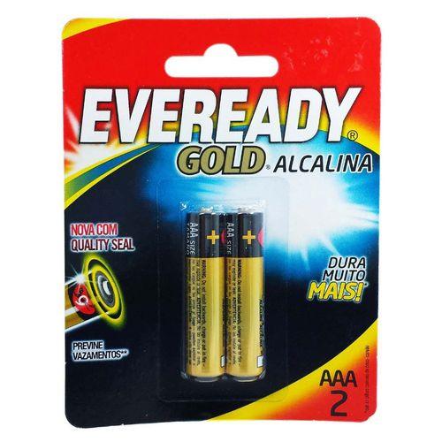 Pilhas Alcalinas - LR03 Palito - AAA - Cartela com 2 Unidades - Eveready Gold