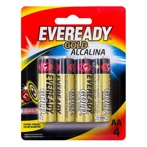 Pilhas Alcalinas - LR6 Pequena - AA - Cartela com 4 Unidades - Eveready Gold