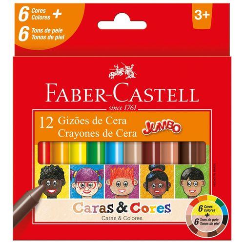 Gizões de Cera - Jumbo - Caras e Cores - 12 Cores - Faber-Castell
