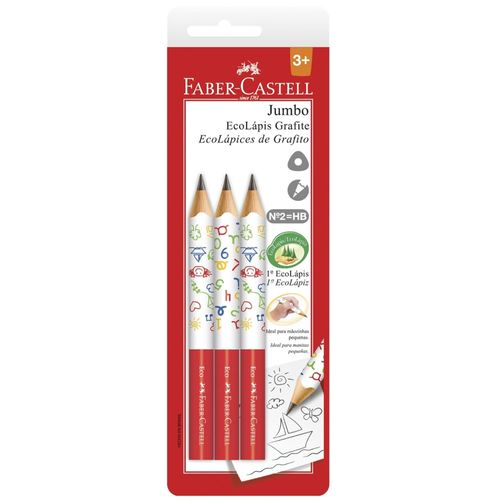 Lápis Grafite - EcoLápis Jumbo - 3 Unidades - Faber-Castell