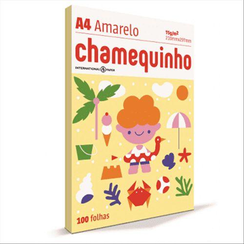 Papel Sulfite - A4 - Amarelo - Pacote 100 Folhas - Chamequinho