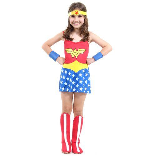 Fantasia Infantil - DC Comics - Mulher Maravilha - Vestido e Acessórios - Sulamericana