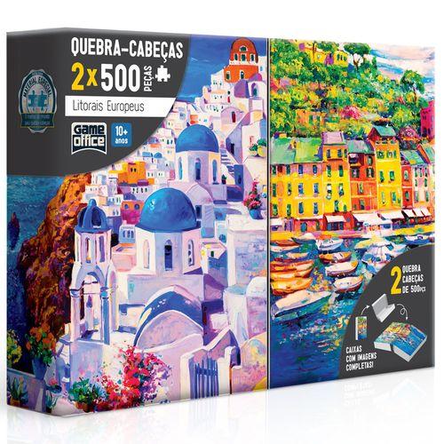 Conjunto de Quebra-Cabeças - 500 Peças - Litorais Europeus - Grécia e Itália - Toyster