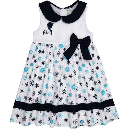 Vestido Infantil - Tricoline - Frozen - Branco e Azul - Disney