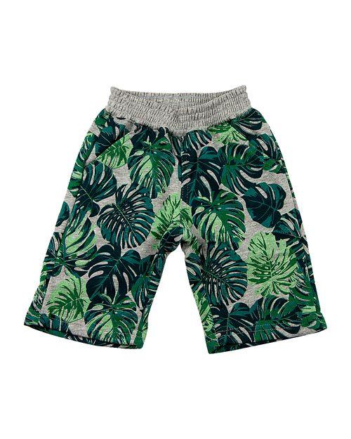 Bermuda Infantil Moletinho Essential Estampa Folhagem - Verde
