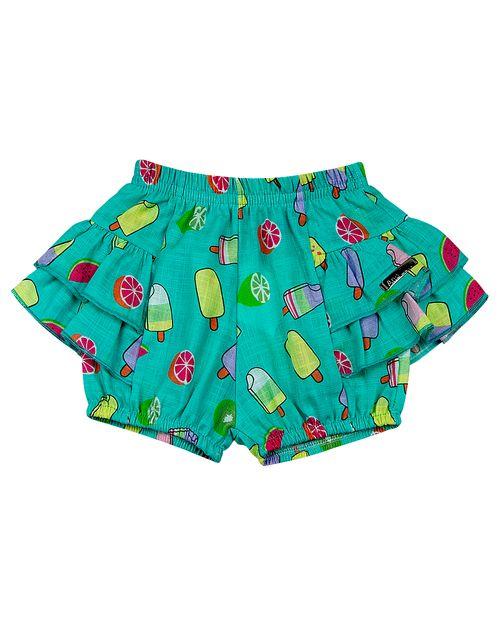 Shorts Bebê Dylan Estampa Digital - Turquesa
