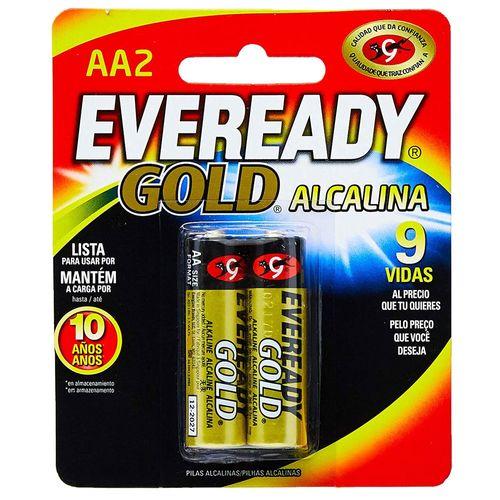 Pilhas Alcalinas - LR6 Pequena - AA - Cartela com 2 Unidades - Eveready Gold