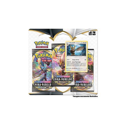 Cards Pokémon - Blister Triplo - Espada e Escudo - Carta Noctowl - Copag