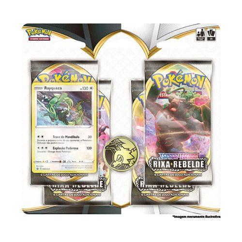 Cards Pokémon - Blister Quádruplo - Rixa Rebelde - Espada e Escudo - Rayquaza - Copag