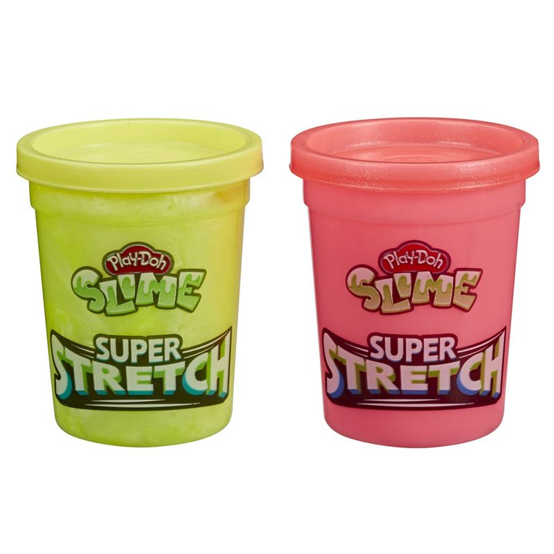 Conjunto-de-Slimes---Play-Doh---Super-Stretch---Amarelo-e-Rosa---238-Gramas---Hasbro_Frente