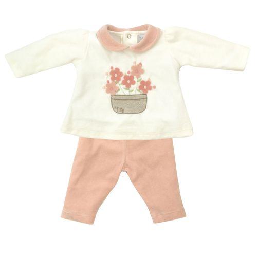 Conjunto Infantil - Blusa e Calça - Algodão e Poliéster - Flores - Rosa - Tilly Baby