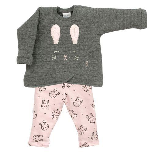 Conjunto Infantil - Blusa e Calça - Algodão e Poliéster - Coelha - Cinza - Tilly Baby