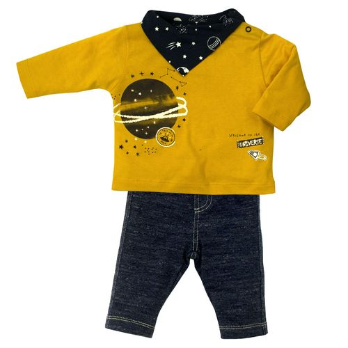 Conjunto Infantil - Blusa e Calça - 100% Algodão - Universo - Azul  - Tilly Baby