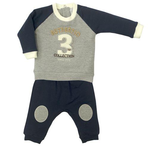 Conjunto Infantil - Blusa e Calça - Algodão e Poliéster - Authentic - Cinza - Tilly Baby
