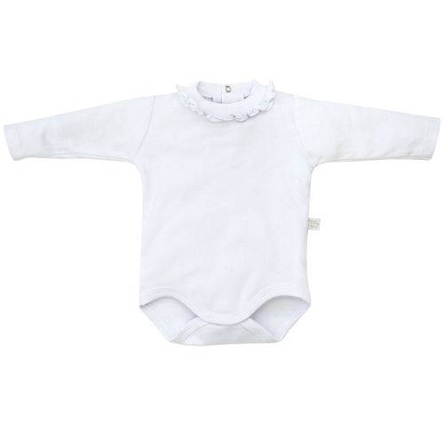 Body Manga Longa - 100% Algodão - Babadinho - Branco - Tilly Baby