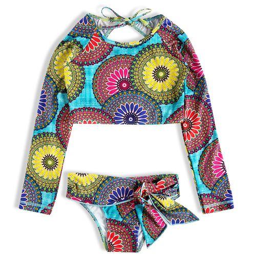 Biquíni Cropped Mandalas Coloridas  – Tip Top – Menina – Nylon – Colorida – 8
