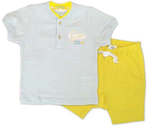Conjunto – Camiseta Polo e Bermuda – Gira Baby – Menino – Malha – Azul – 9-12m