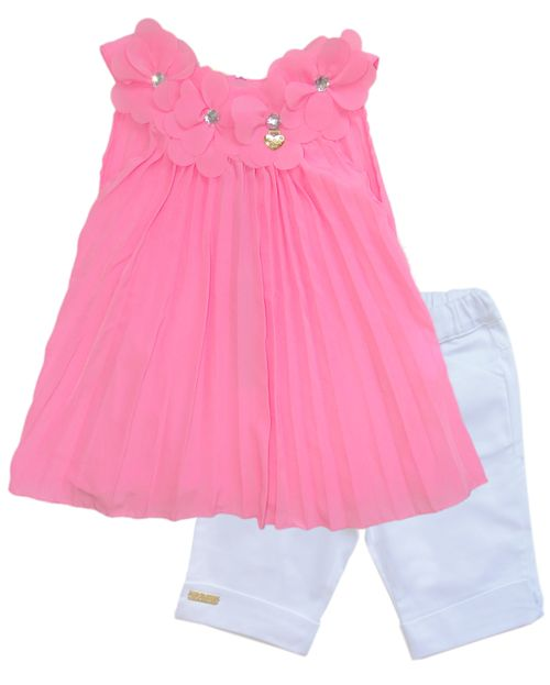 Conjunto – Bata Plissada Fluor e Bermuda Capri  – Gira Baby – Menina – Algodão – Pink – 4