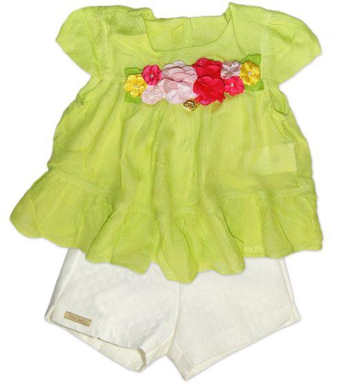 Conjunto – Bata Babados Limão e Short   – Gira Baby – Menina – Algodão – Verde – 9-12m