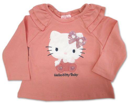 Camiseta e Calça – Hello Kitty – Menina – Malha – Rosa – 9-12m
