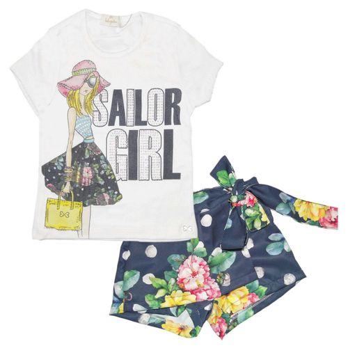 Conjunto – Blusa de Bolsa e Short Saia – Luluzinha – Menina – Algodão – Florido – 6